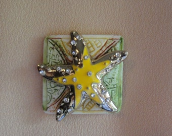 Vintage Brooch, Small square enamel on metal starfish, Rhinestone accents, Recycled with magnetic back clasp, Bonus scarf