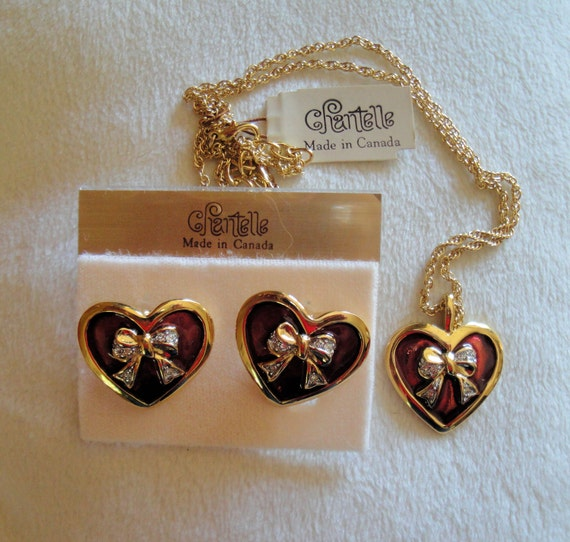 Vintage necklace and pierced earrings, Chantelle D'Orlan Red Enamel Heart design pendant on chain and pierced earrings set, Made in Canada