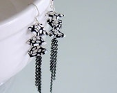 Black and White Tassel Earrings - Polymer Clay