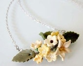 Yellow Blossom Flower Necklace - Polymer Clay
