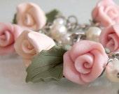 Rose Charm Bracelet - Peachy Pink - Polymer Clay
