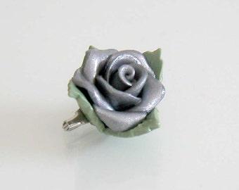 Grey Rose Brooch - Handmade Polymer Clay Rose - Grey Rose Pin - Grey Rose Jewelry - Grey Rose Bridal Pin - Grey Rose Wedding - Gray Rose