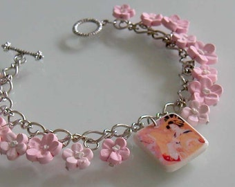 Geisha Cherry Blossom Charm Bracelet, Handmade Polymer Clay Flower Bracelet, Pink Cherry Blossom Jewelry, Pink Jewelry, Shabby Chic Jewelry