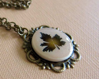 Maple Leaf Necklace - Handmade Polymer Clay Necklace - Brown Maple Leaf Cameo Necklace - Fall Jewelry - Nature Jewelry - Maple Leaf Jewelry