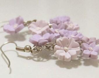 Lavender Blossom Earrings - Handmade Polymer Clay Flower Earrings - Purple Flower Earrings - Shabby Chic Earrings - Purple Bridal Earrings