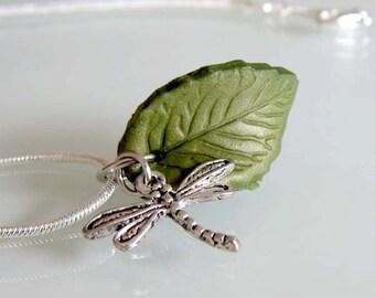 Dragonfly Leaf Necklace - Handmade Polymer Clay Necklace - Nature Necklace - Dragonfly Jewelry - Green Leaf Jewelry