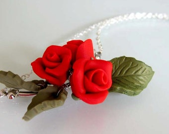 Red Rose Necklace - Handmade Polymer Clay Flower Necklace - Red Bridesmaid Necklace - Red Wedding Jewelry - Rose Jewelry - Flower Jewelry