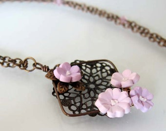 Purple Blossom Filigree Necklace - Handmade Polymer Clay Flower Necklace - Purple Flower Necklace - Purple Jewelry - Purple Bridal Necklace