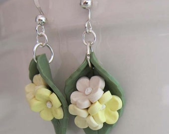 Yellow Cherry Blossom Earrings - Handmade Polymer Clay Flower Earrings - Yellow Flower Drop Earrings - Sculpted Yellow Flower Jewelry
