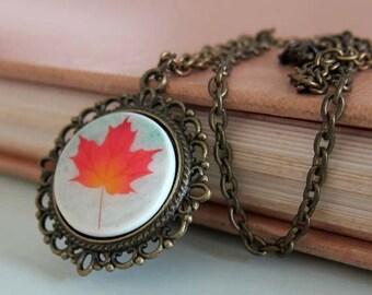 Orange Maple Leaf Necklace - Handmade Polymer Clay Necklace - Cameo Necklace - Maple Leaf Jewelry - Autumn Jewelry