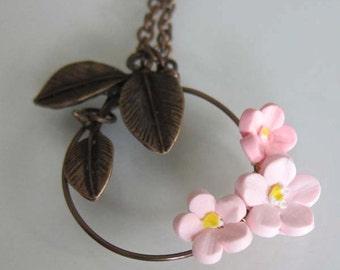 Pink Cherry Blossom Necklace - Sakura Polymer Clay Necklace - Handmade Polymer Clay Flower Necklace - Pink Flower Jewelry - Pink Necklace