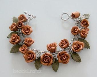 Classic Rose Garden Bracelet - Handmade Polymer Clay Rose Bracelet - Bronze Rose Charm Bracelet - Bridesmaid Rose Bracelet - Wedding Jewelry