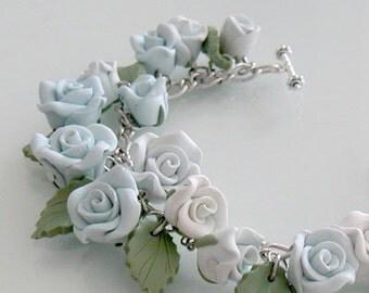 Blue Rose Garden Bracelet, Handmade Polymer Clay Rose Bracelet, Baby Blue Flower Jewelry, Something Blue Wedding,  Blue Rose Jewelry