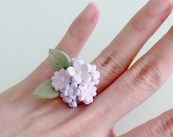 Pastel Purple Flower Ring - Lavender Blossom Ring - Handmade Polymer Clay Flower Ring - Statement Flower Ring- Cherry Blossom Flower Ring