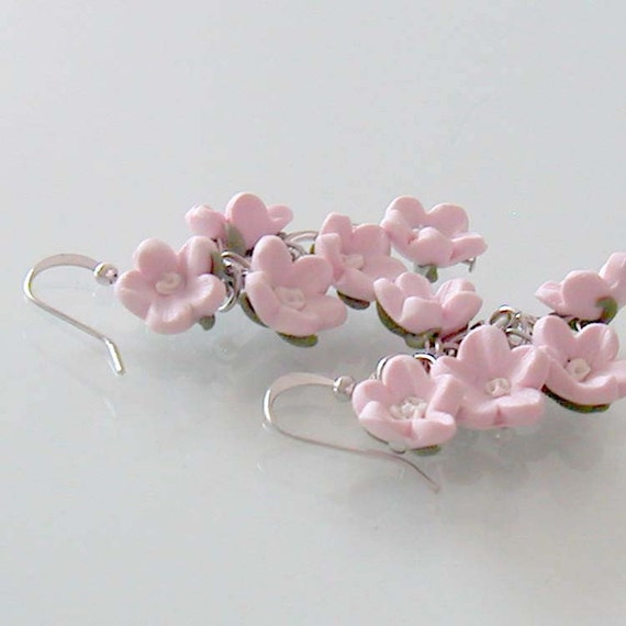 Pink Cherry Blossom Earrings - Polymer Clay