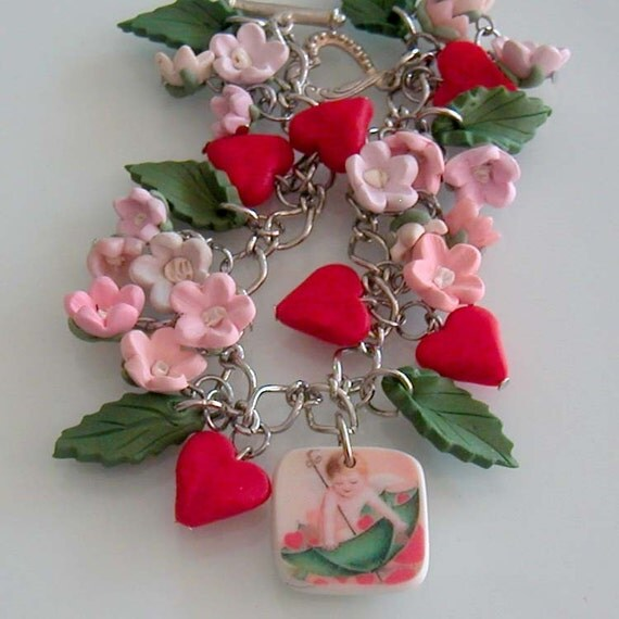 Valentine's Cupid Bracelet - Polymer Clay