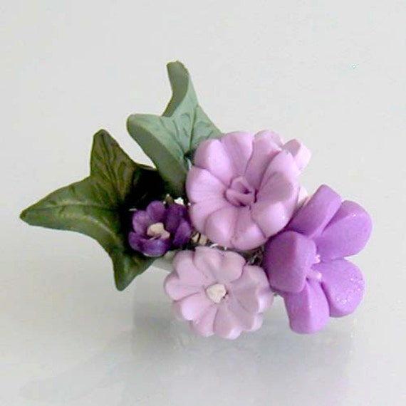 Purple Blossom Flower Brooch - Handmade Polymer Clay Flower Jewelry - Purple Bridesmaid Pin - Purple Flower Jewelry - Purple Flower Pin