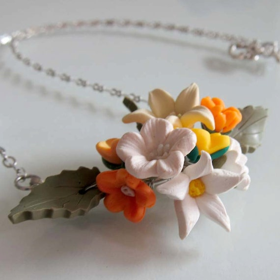 Tropical Blossom Flower Necklace - Polymer Clay