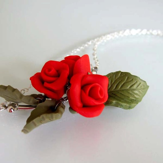 Red Rose Necklace - Polymer Clay
