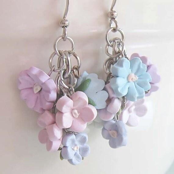 Pastel Flower Dangle Earrings - Polymer Clay