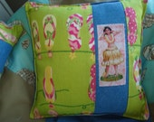Flip Flop and Hula Girl Beach House Pillow
