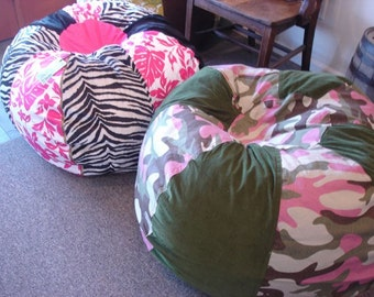 SALE Green And Pink Camo Bean Bag Pillow Chair Unique Unfilled With Cover Liner You