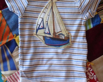 Sailboat Yacht Baby Boy onesie Nautical and Vintage style size 6 to 9 months