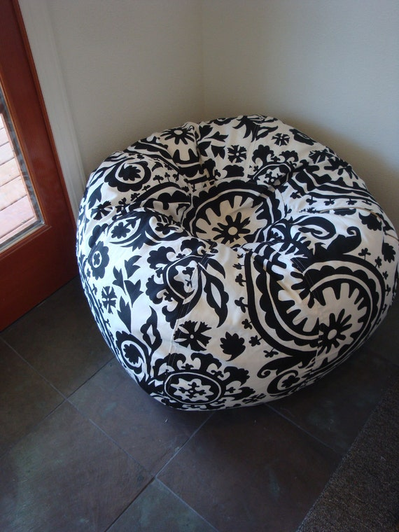 Black And White Damask Suzani Print Bean Bag Chair