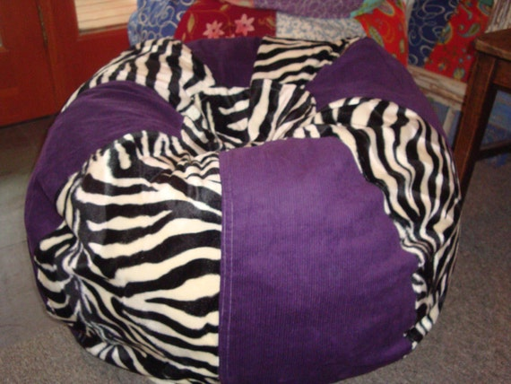 Black And White Zebra With Solid Purple Bean Bag Chair By