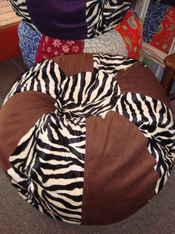 Black and White ZEBRA and Solid Brown Bean Bag chair Funky and cool