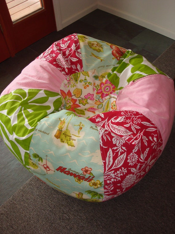 SURFER Girl Beach Bean Bag with Hawaiian postcard print, funky floral, red floral and pink