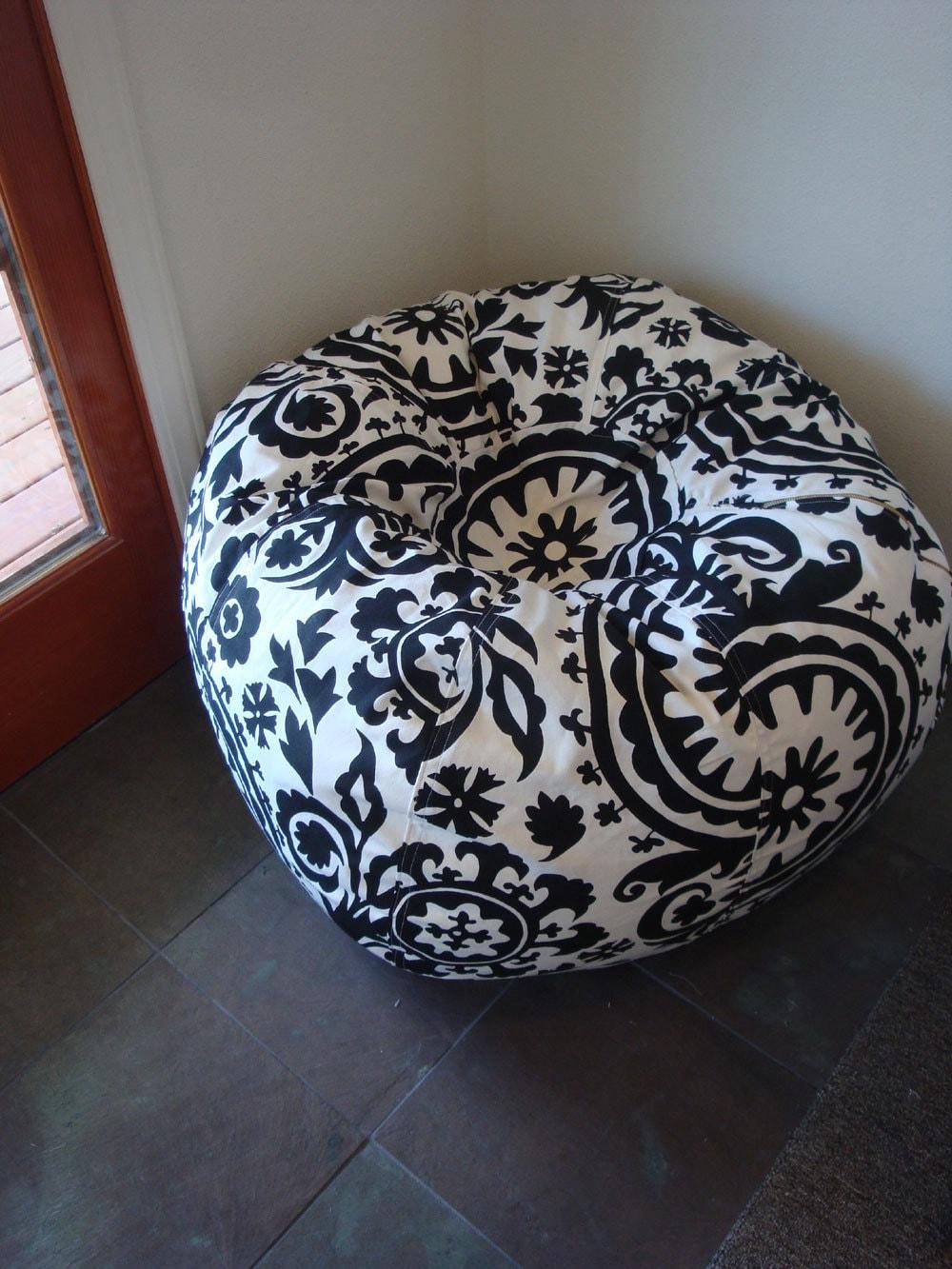 Black And White Damask Suzani Print Bean Bag Chair