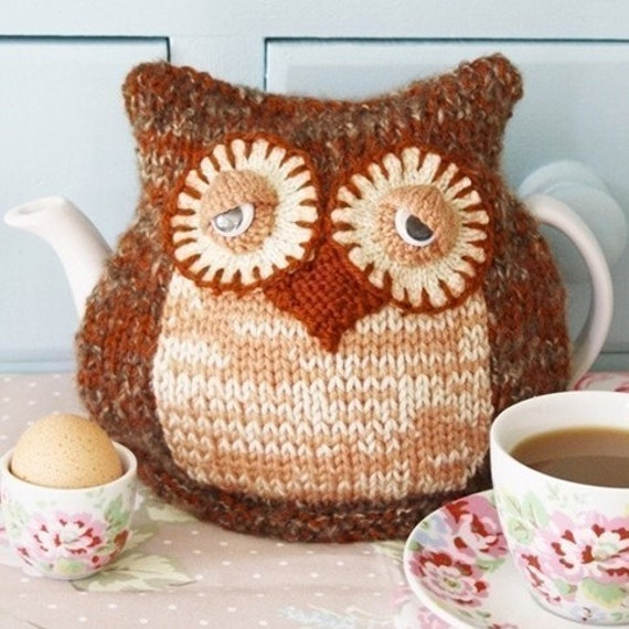 Morning Owl Tea Cosy pdf email knitting pattern by debi