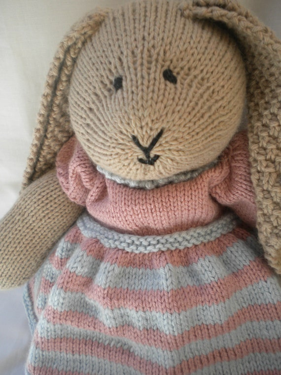 Ready to ship ..  Daisy Bella,   A Hand Knitted Bunny Rabbit with removable clothes