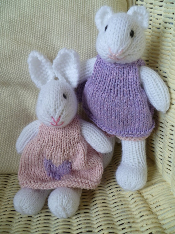 Ready to ship....Hand Knitted Bunny and Mouse