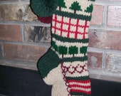Old Fashioned Hand Knit Rustic Series Sampler 2 Pattern Christmas Stocking in Red Green Tree Heart Snowflake