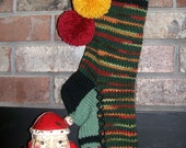 Old Fashioned Hand Knit Fall rainbow and Dark Sage Green striped Christmas Stocking with Fancy Block Stripe Border
