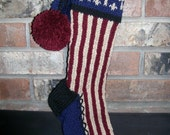 Old Fashioned Hand Knit Rustic Americana Red Antique White Blue Vertical Candy Cane Stripe Christmas Stocking with Cross Detail