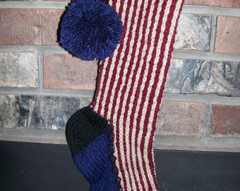 Old Fashioned Hand Knit Rustic Americana Series Red Antique White Blue Verticla Stripe Christmas Stocking