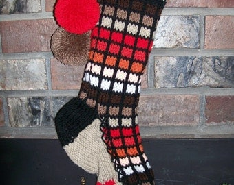 Old Fashioned Hand Knit Christmas Stocking in Multi Red Orange Browns Window Pane with Red Heart Detail