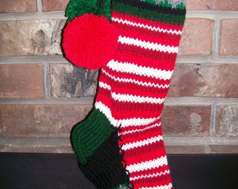 Old Fashioned Hand Knit Classic Series Christmas Stocking in Red White Horizontal Multi Stripe with Snowflake Border