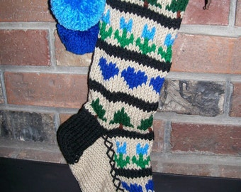 Old Fashioned Hand Knit Blue Sampler style Christmas Stocking with Hearts Trees Flowers