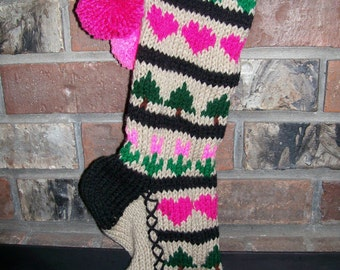 Old Fashioned Hand Knit Pink Sampler Christmas Stocking Hearts Flowers Trees