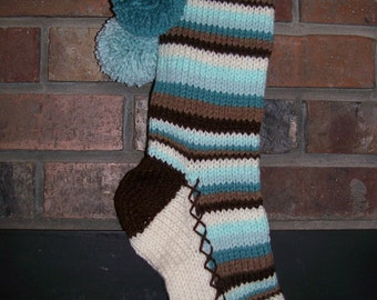 Old Fashioned Hand Knit Christmas Stocking in Cream Aqua Blue Chocolate Brown stripes with Snowflake border