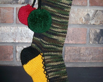 Old Fashioned Hand Knit Bright Series Camouflage Christmas Stocking with Fir Trees