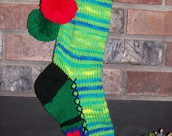 Old Fashioned Hand Knit Bright Series Banana Berry and Lime Green Christmas Stocking with Red Heart Fancy Stripe