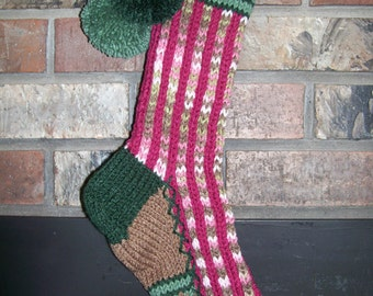Old Fashioned Hand Knit Bright Series Pink Camo and Magenta Christmas Stocking with Fancy Heart Stripe
