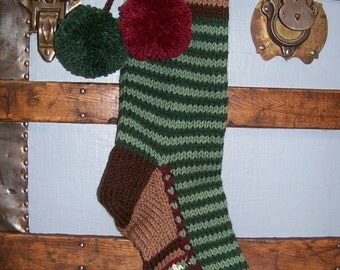 Old Fashioned Hand Knit Rustic Series Christmas Stocking with Bold Two Tone Sage Green Horizontal Stripes