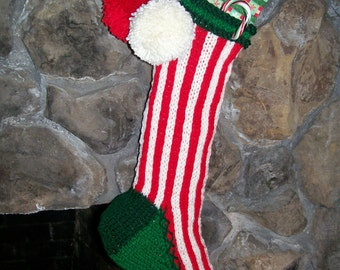 Old Fashioned Hand Knit Classic Series Stocking in Red and White Candy Cane Stripe with Flower Border Detail