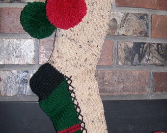 Old Fashioned Hand Knit Rustic Series Nubby Linen Yarn Christmas Stocking with Stripe Border